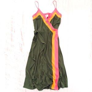 NWOT Isaac Mizrahi Striped Wrap Midi Dress